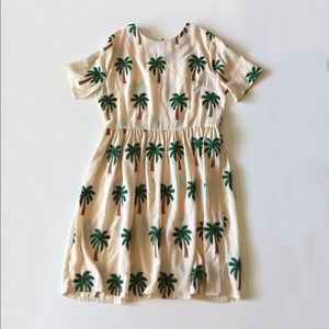 Anthro Pepaloves Palm Tree Embroidered Dress L